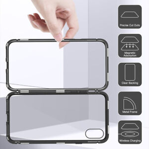 360 Sided Flip Magnetic Adsorption Glass Phone Case for iPhone 11 7 6S S7 S8 A20