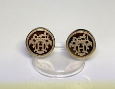 Pairs Hermes Cufflinks H & Horse Stainless steel rose gold colour