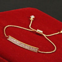 Gold/Silver Plated Crystal Pave Bar Slider Bracelet Adjustable Drawstring Bangle