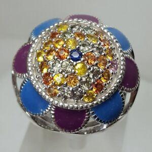 HSN Sima K 2.22ct Multi Sapphire 925 Sterling Silver Enamel Dome Ring SZ 8