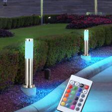 2x LED Acero Inoxidable Exterior Soporte de Lámpara Stand Base Jardín RGB Luces