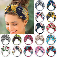 Women Twisted Knotted Floral Headband Boho Floral Wide Stretch Headwrap Hairband