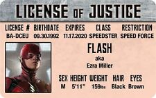 The JUSTICE LEAGUE of AMERICA Flash aka Ezra Miller ID card Drivers License