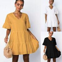 Women V-Neck Ruffle Mini Dress Ladies Short Sleeve Sundress Summer Tunic Dress