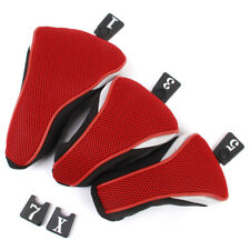 3x Black Red Golf Club Head Covers For  Fairway Wood Hybrid Driver