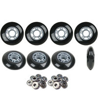 Inline Skate Wheels HILO SET 72mm 80mm 82A Black Outdoor Hockey -Abec 9 Bearings