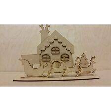 Christmas House Scene With Reindeer & Sleigh Design - 3mm MDF Wooden Craft Blank