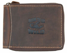 Men's zip-around natural genuine leather wallet Born to be Wild with scorpion