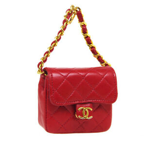 CHANEL CC Logos Classic Flap Micro Bag Pouch Purse Red Leather Vintage 37493