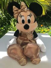 "Disney Store 12"" Minnie Mouse Rose Gold Plush Doll Toy NWT"