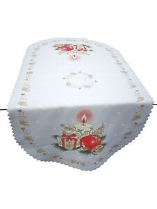 """Christmas oval white tablecloth / table runner NEW 50 x 100 cm (20""""x39"""") candle"""