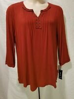 Style&Co Woman 3/4 Sleeve V Neck Embellished Trim Top Auburn Red Plus Size 1X