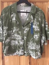 Womens Pull & Bear Green Cropped Shirt Large BNWT