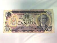 1971 Canadian ten dollar bill $10 Canada note ETE Prefix Circulated