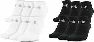 Men's Under Armour Charged Cotton 2.0 No Show Socks Black White 3 Pairs