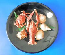 Assiette décorative Dugué avec de véritables coquillages + langoustine + crabe
