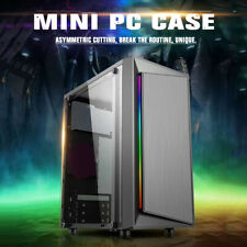 Gaming Tempered Glass Mid-Tower ATX mini-ITX Desktop Computer PC Case 80mm fan