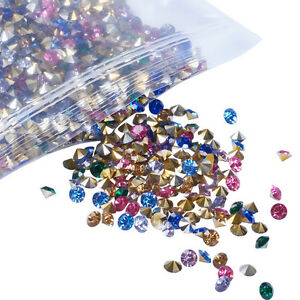 1 Bag Mixed Diamond Pointed Back Resin Rhinestone Findings Pick Size 2~8mm Craft