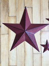 "ONE (1) BURGUNDY BLACK BARN STAR 24"" PRIMITIVE RUSTIC COUNTRY DISTRESSED"