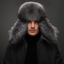 GREY Men's Winter Hats 100% Real Fox Fur&Lamb Leather