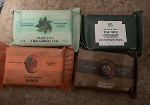 NEW 4 X The Body Shop Soap bars - Fuji Green Tea Coconut Tea Tree Mango