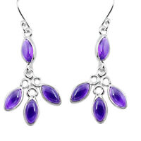 925 Sterling Silver 11.25cts Natural Purple Amethyst Dangle Earrings P77390