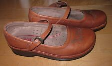 KLOGS Wms Tan Leather Mary Jane Clogs 9
