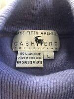 SACKS 100% Cashmere Mock Neck Sweater Vest Large Vintage Pastel Purple Blue