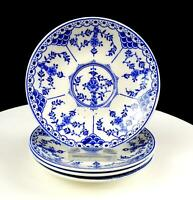 "RIDGWAY LAWLEY ENGLAND BLUE DANISH BLUE & WHITE 4 PIECE 5 5/8"" SAUCERS 1955-1962"