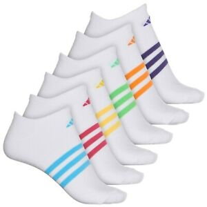 6 PAIRS ADIDAS WOMEN SUPERLITE MEDIUM NO SHOW WHITE Socks SHOE SZ Sz 5-10