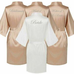 Champagne Satin Silk Wedding Bride Bridesmaid Kimono Robe Party Dressing Gown UK