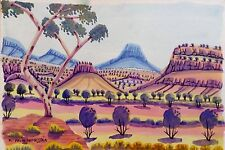 Namatjira Art Watercolour Australian Indigenous   Central Australian Uluru