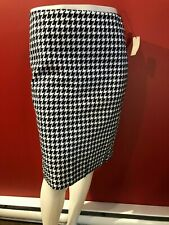 TALBOTS Women's Navy/White Houndstooth Lined Skirt - Size 4P - NWT $79.50