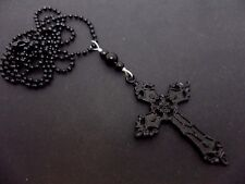 A LOVELY LONG BLACK CROSS/CRUCIFIX NECKLACE. GOTH. NEW.