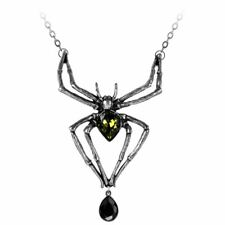 Alchemy Gothic Emerald Venom Pendant Necklace - Crystal Spider England