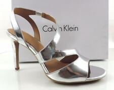 Women's Shoes Calvin Klein NIOBE Strappy Dress Sandals Heels Silver Patent US 11