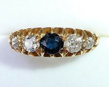 Edwardian 18ct Gold Sapphire & 0.50ct Diamond 5 Stone Ring, Size L