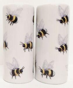 Bees Salt & Pepper Set Porcelain Ceramic Bumble Bees Cruet Set Hand Decorated UK