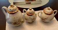Antique Japanese Porcelain Tea Pot, Creamer, Sugar Bowl Hand Painted Set Of 3