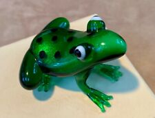 Green Glass Frog Figure-Blown Glass 2 1/2 Inch-boxed for gift giving