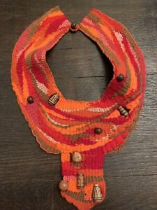Vintage Hand Woven Wool Tapestry Collar Beaded Hippie Boho Fiber Art Jewelry
