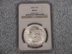 1884 O MORGAN $1 NGC MS 63 1 OZ  SILVER COIN IN SLAB