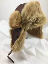 Bailey Of Hollywood Rabbit Fur Leather Trapper Hat Cap Outdoors Aviator Sm Med 7