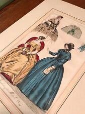 Antique Vintage Hand Colored Fashion Print/Fashions of March 1847