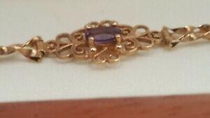 9ct Gold Natural Amethyst filigree Bracelet