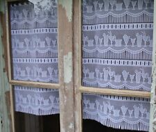 Vintage French Lace Cafe Curtains Cocktails Set of 2