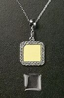 Photo Jewelry Dangle Crystal Square Pendant Charm Adjustable Necklace Chain