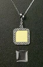 Photo Jewelry Crystal Square Necklace & Pendant Silver