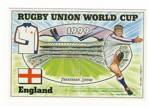 1999 RUGBY UNION WORLD CUP BRIAN LUND POSTCARD ENGLAND v TONGA TWICKENHAM USED
