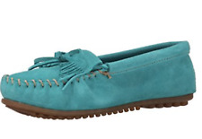 Minnetonka Kilty suede Moccasins Shoe's Teal UK 4.5 EU 37.5 US 7 NH085 PP 04